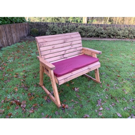 Charles Taylor Garden Bench Rocker with Burgundy Cusion Set and 1 Scatter Cushion Plus Free Standard Cover.Fully Assembled. UK Mainland Only.10 Year Rot Free Guarantee.
