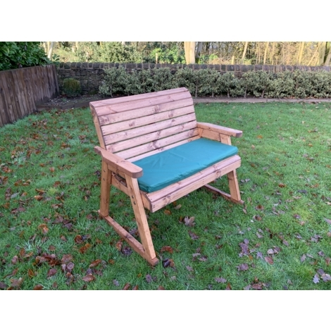 Charles Taylor Garden Bench Rocker with Green Cusion Set and 1 Scatter Cushion Plus Free Standard Cover. Fully Assembled. UK Mainland Only.10 Year Rot Free Guarantee.