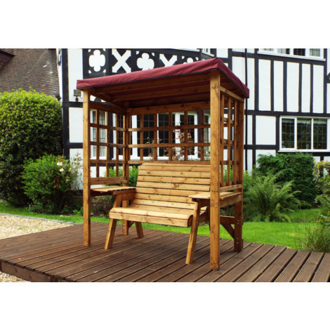 Charles Taylor Two Seat Arbour Burgundy Canopy. Burgundy Cushion Set Plau 1 Free Scatter Cushion.Fully Assembled. UK Mainland Only.10 Year Rot Free Guarantee.