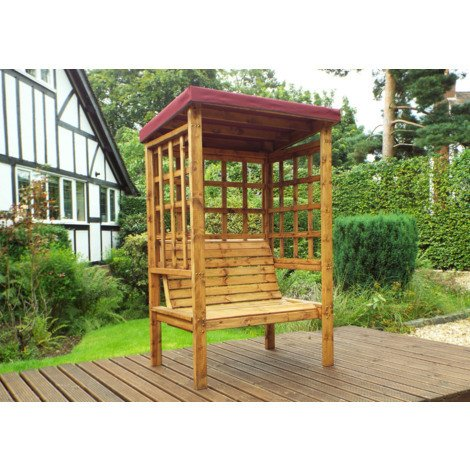 Charles Taylor Two Seat Arbour Burgundy Canopy. Burgundy Cushion Set Plus 1 Free Scatter Cussion. Fully Assembled. UK Mainland Only.10 Year Rot Free Guarantee.