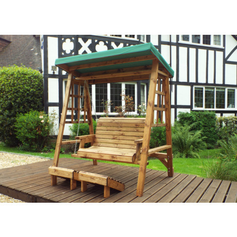 Charles Taylor Two Seat Swing Green Canopy. Green Cushion Set Plus 1 Free Scatter Cusion.Fully Assembled. UK Mainland Only.10 Year Rot Free Guarantee.