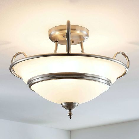 Charlet glass ceiling light, round, antique brass