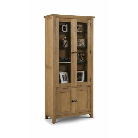 Charlotte 4 Door Solid Oak Traditional Style Glazed Display Cabinet