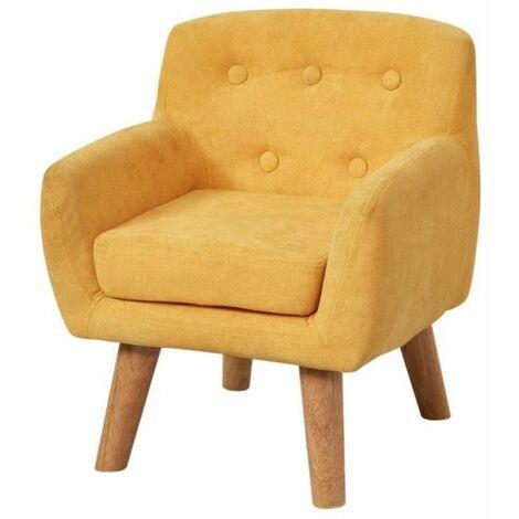CHARLOTTE Fauteuil enfant pieds bois chene - Tissu jaune - Scandinave - L 42 x P 39 cm