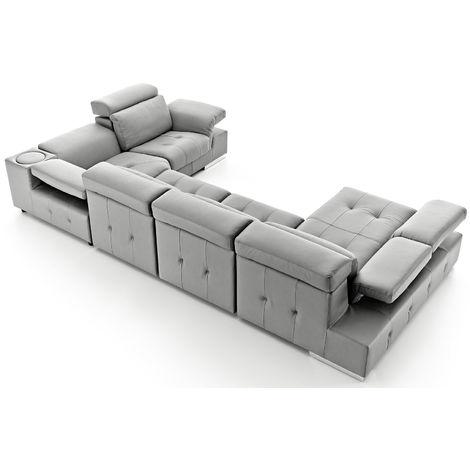 Charlotte Italian Leather Corner Group Sofa Plata Grey