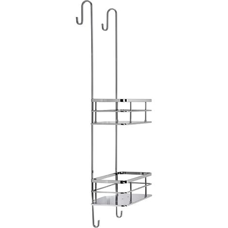 Croydex Rust Free Charlwood Flexi-Fix Two Tier Hook Over Bathroom Storage Shower Basket Caddy, Chrome