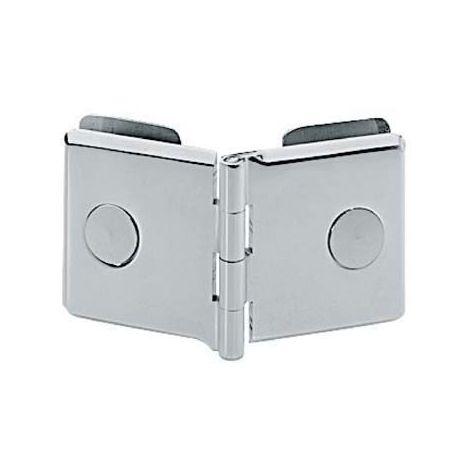 Charnière double verre/verre série 2000 - Matériau : Laiton - Charge : 12 à 18 kg - Dimensions : 40 x 40 mm - Décor : Chromé - ADLER - Décor : Chromé