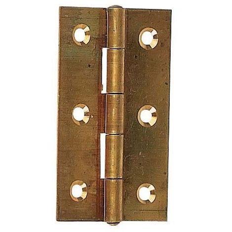 Charnière épaisse laiton - Décor : Laiton poli - Epaisseur : 2 mm - Hauteur : 60 mm - Largeur ouverte : 35 mm - ITAR - Décor : Laiton poli