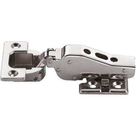 Charnière invisible pour porte large - Profondeur boîtier : 15 mm - Entraxe : 48 mm - Ouverture : 95° - Diametre boîtier : 40 mm - Décor : Nickelé - Matériau : Acier / Zamac - Pour porte d'épaisseur - Diametre boîtier : 40 mm