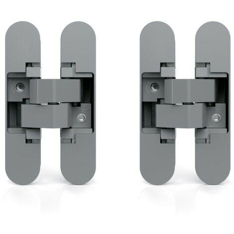 Charnière invisible pour portes charge de 40 kg ouverture de 180° zamak gris métallisé 2 un. EMUCA 1019725