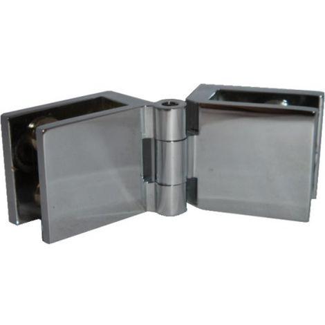 Charnière miroir verre/verre - laiton chromé 25 x 29 mm - la paire