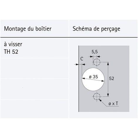 Charni/ère sensys porte fine 8646i amortie Version : TH52 D/écor : Nickel/é Fixation : A visser HETTICH Entraxe : 52 mm Montage : En applique