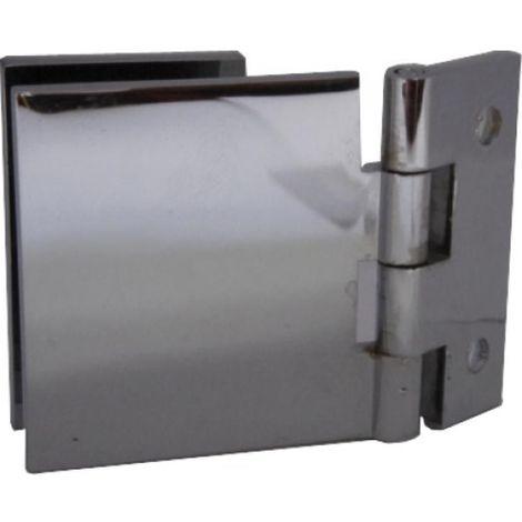 Charnières à contre-plaque verre/bois - laiton chromé 40 x 40 mm - la paire