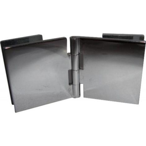 Charnières à contre-plaque verre/verre - laiton chromé 40 x 40 mm - la paire