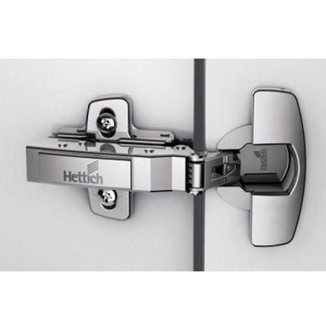 Charnières invisibles sans fermeture automatique pour système P2O Sensys - 110° - à montage rapide fix - entraxe 52 - coudure 16