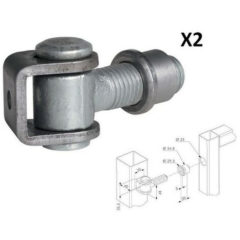 Charnières pour petite porte industrielle, boulon M20 Ø 18mm LOCINOX - G90ZM202.