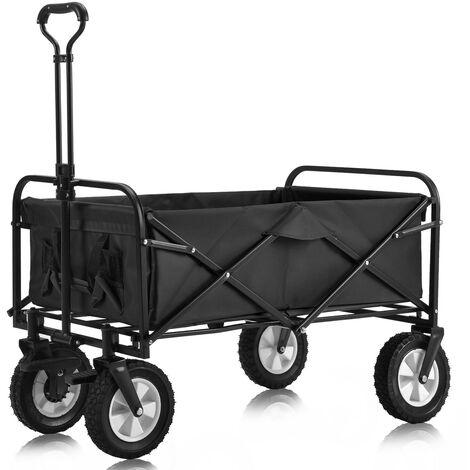 Charrette pliable à l'extérieur Charrette tout-terrain avec larges roues de frein, porte-gobelets en filet, poignée réglable, sac en tissu, noir