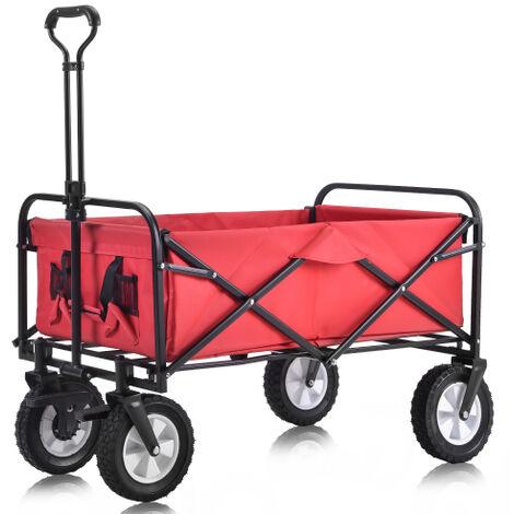 Charrette pliable à l'extérieur de la charrette Alles Terrain avec larges roues de frein, porte-gobelets en filet, poignée réglable, sac en tissu, rouge