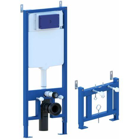 Châssis de bâti-support pour bidet, châssis réservoir caché complet de plaque de commande Inox pour couple de sanitaires suspendu