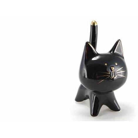Chat décoratif en céramique - l 9,8 x H 15,3 cm - Noir