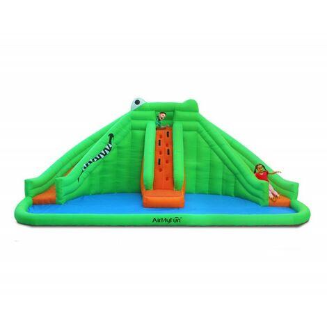 Château Aquatique Gonflable pour enfants 6,90m - Aire de jeux avec Escalade, Toboggan et Piscine - Play4FunCrocodile Swamp