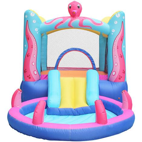 Château Aquatique Gonflable pour enfants jouet en plein air Aire de jeux extérieure avec Tobbogan et Piscine 380x200x170cm
