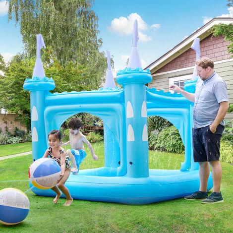 Château gonflable air de jeux aquatique piscine pour enfant avec arroseurs et pompe bleu Teamson Kids TK-48271B-UK/EU
