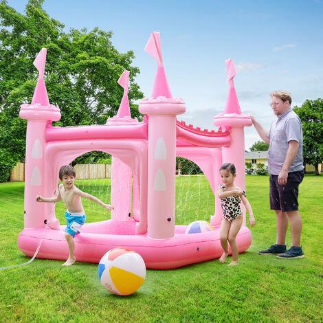 Château gonflable air de jeux aquatique piscine pour enfant avec arroseurs et pompe rose Teamson Kids TK-48271P