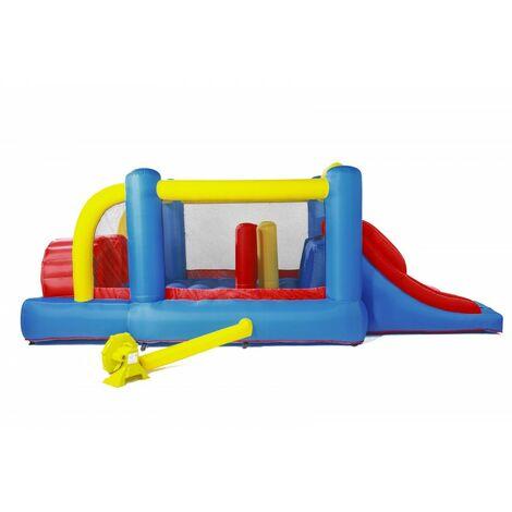 Château gonflable : aire de jeux gonflable avec mur d'obstacles et double toboggan - surface de jeux : 560 x 255 x 190 cm - Wipe out