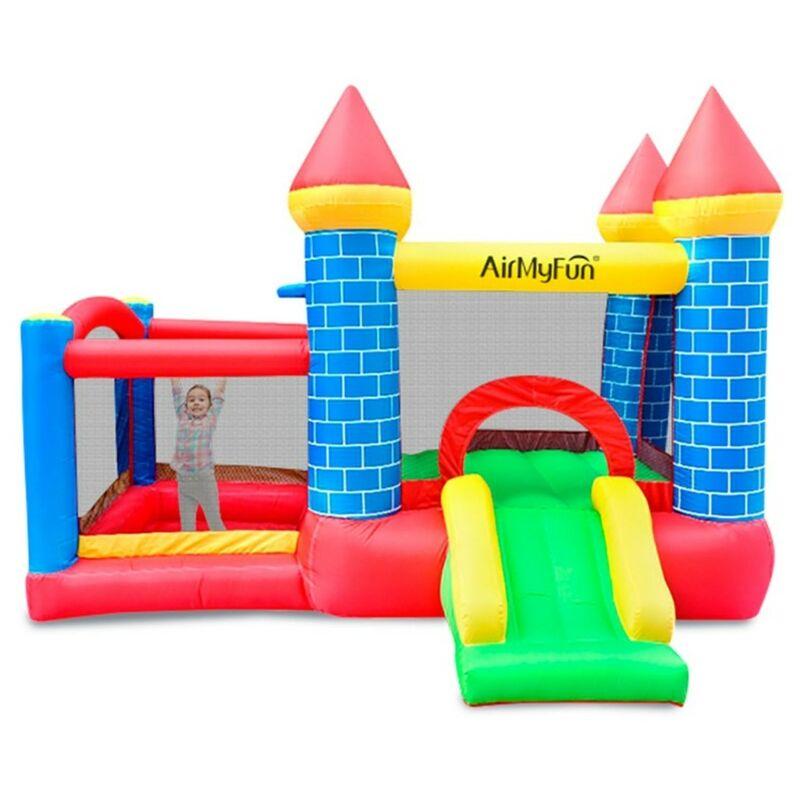 Play4fun - Château Gonflable pour enfants 3m : aire de jeux gonflable avec toboggan et double parc intérieur sécurisé -souffleur et sac de rangement