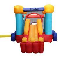 Château gonflable pour enfants 4,6m : aire de jeux gonflable avec toboggan renforcé et mur d'escalade- souffleur et sac de rangement inclus - Voiture Gonflable Bobby