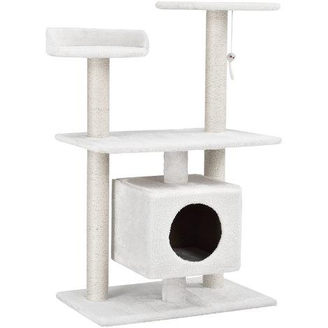 chats arbre à chat [env. 60 x 40 x 95 cm][blanc] paniers douillets / plateformes d'observation / sisal / avec de nombreuses possibilités de jouer et de câliner