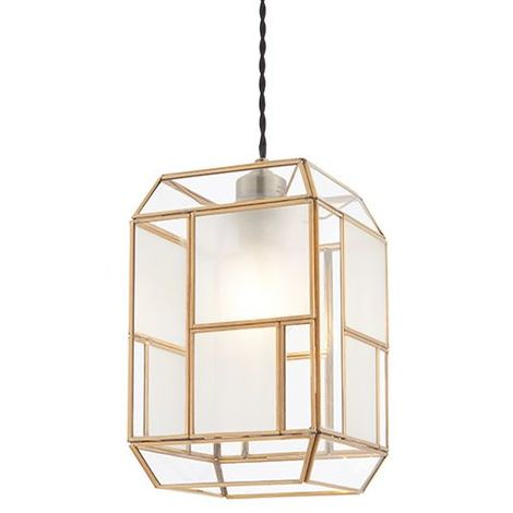 ChatSWorth Solid Brass With Clear & Frosted Glass Non Electric Ceiling Pendant
