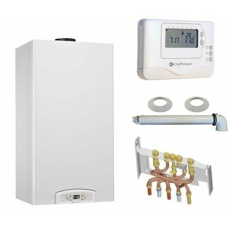 Chaudière Gaz Condensation Inoa Green Chaffoteaux 25 kW Complète (Ventouse + Douilles + Dosseret) avec Thermostat Filaire