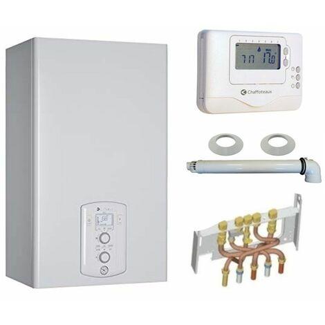 Chaudière Gaz Condensation Urbia Green Chaffoteaux 25 kW Complète (Ventouse + Douilles + Dosseret) avec Thermostat Connecté