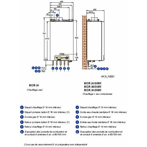 Chaudiere murale gaz a condensation DE DIETRICH MCR 24 / 28 MI PLUS Colis HG129 / Classe energetique A, Ref.7625480