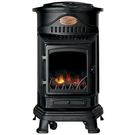 Chauffage d'appoint gaz Provence 3 KW Noir mat Effet poêle à bois