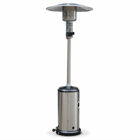 Chauffage d'extérieur à gaz, parasol chauffant de terrasse FINLAND 12,5kW en Inox avec roulettes