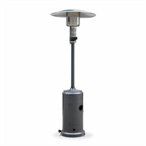 Chauffage d'extérieur à gaz, parasol chauffant de terrasse FINLAND 12,5kW Gris avec roulettes