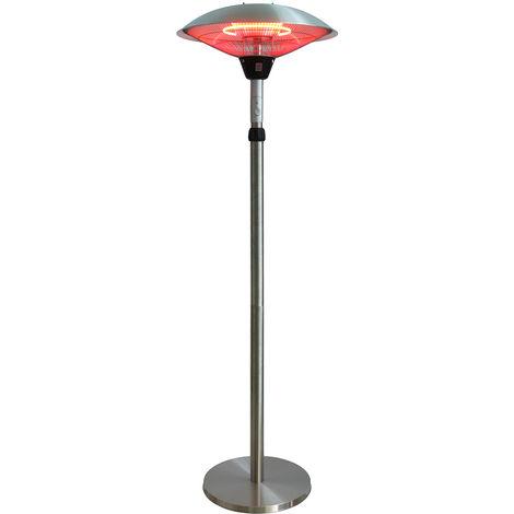 Chauffage d'exterieur parasol chauffant electrique sur pied hauteur reglable max 205cm et tete inclinable - 2100W