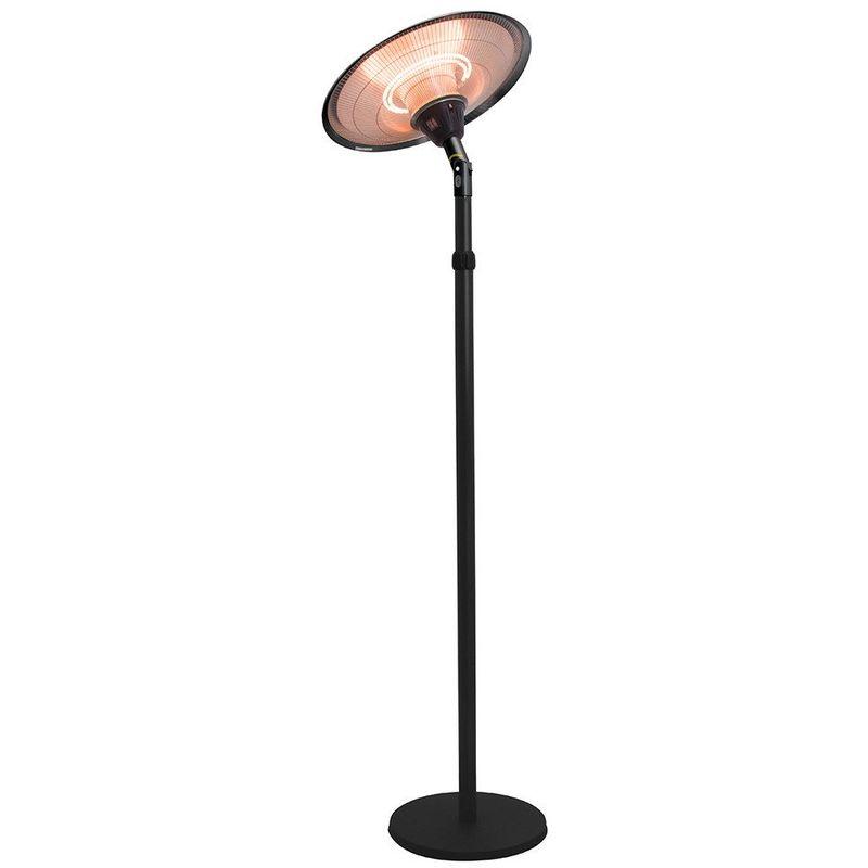 Interouge - Chauffage d'extérieur parasol chauffant électrique sur pied hauteur réglable max 205cm et tête inclinable - 2100W -Noir