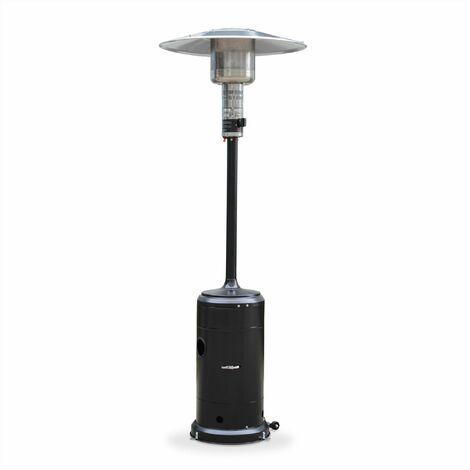 Chauffage extérieur à gaz, parasol chauffant de terrasse FINLAND 12,5kW Noir avec roulettes