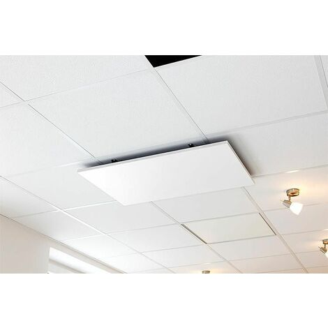 Chauffage infrarouge blanc montage plafond - acier emaillé 587 x 587 x 60 mm - 600W