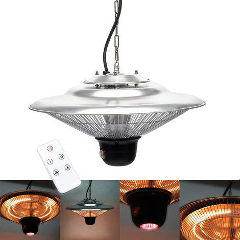 Chauffage Infrarouge de plafond 1500W Suspendu 3 Niveaux d'éclairage Télécommande LED