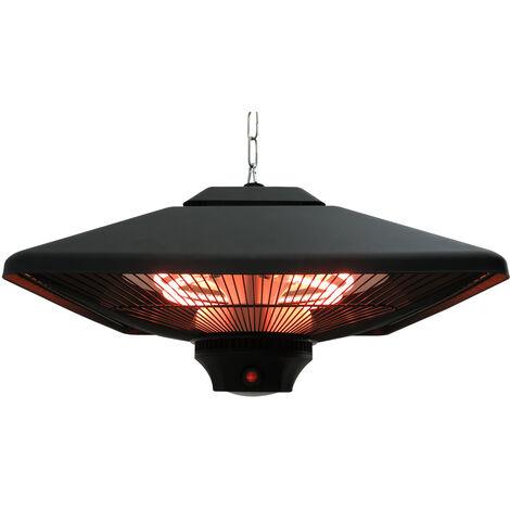 Chauffage radiant suspendu 43L x 43l x 25H cm 2 tubes 1000/2000 W extérieur intérieur télécommande éclairage LED intégré noir