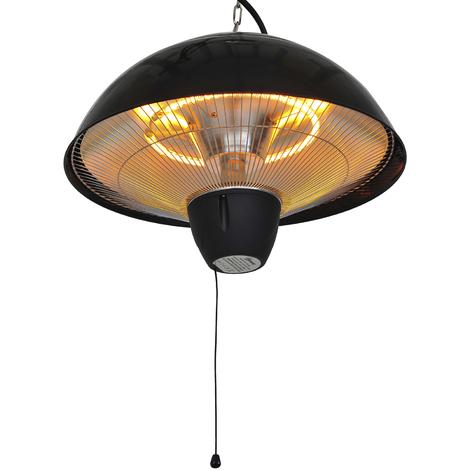 Chauffage radiant suspendu chauffage infrarouge à quartz 1500 W capacité 9 m² dim. Ø 41 x 31H cm noir
