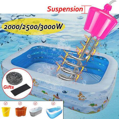Chauffe-eau à immersion à suspension 3000W en acier inoxydable pour baignoire gonflable de piscine (rose, prise 3000W UE)