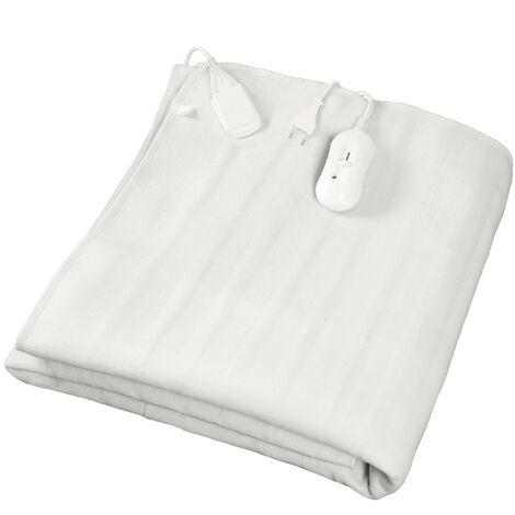 Chauffe Lit, Surmatelas Chauffant, Simple, 150 x 80 cm, 60W, Blanc, Commande manuelle, Polyester, Standards/Certifications: CB, CE