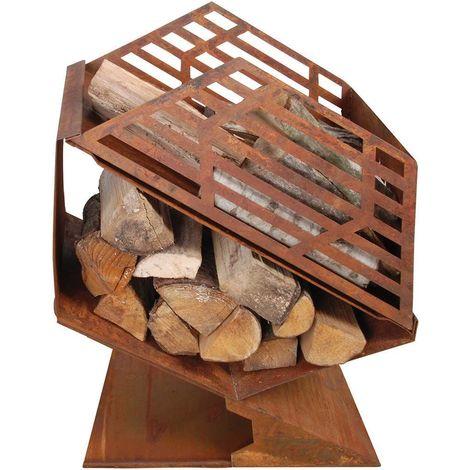 Chauffe-terrasse en fonte avec stockage de bois