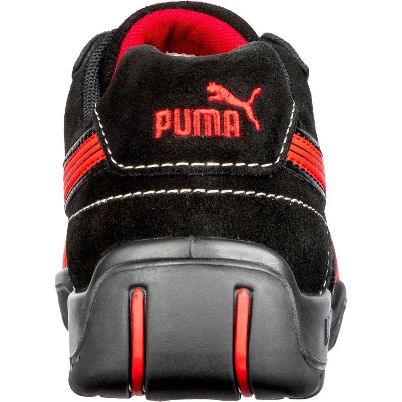 chaussures de sécurité basse femme rouge et noir puma